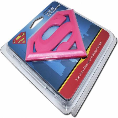 Supergirl Symbol Hot Pink Chrome Plated Emblem