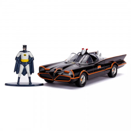 "Batman 1966 Classic Batmobile & Figure 5"" Diecast Metal Movie Car by Jada Toys"