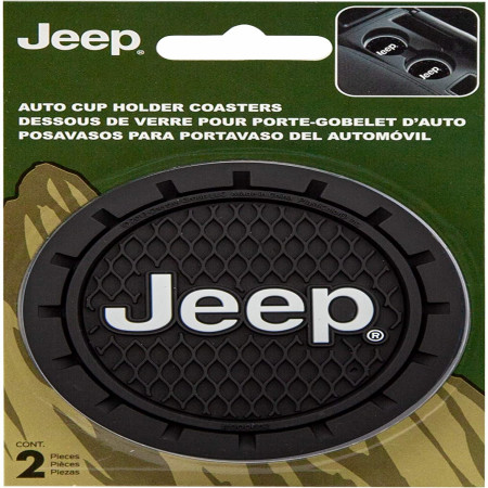Jeep Logo Car Cup Holder Coaster 2-Pack