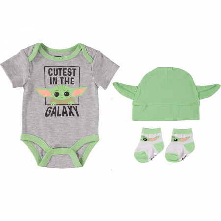 Star Wars The Mandalorian Grogu 3-Piece Bodysuit Set