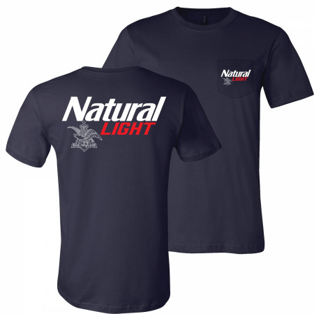 Natural Light Logo Front and Back Print Pocket Tee