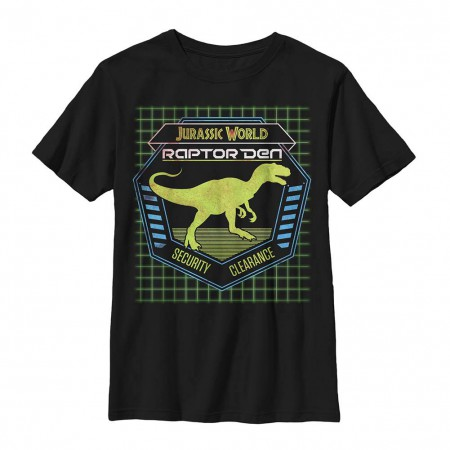 Jurassic World Raptor Den Black Youth T-Shirt