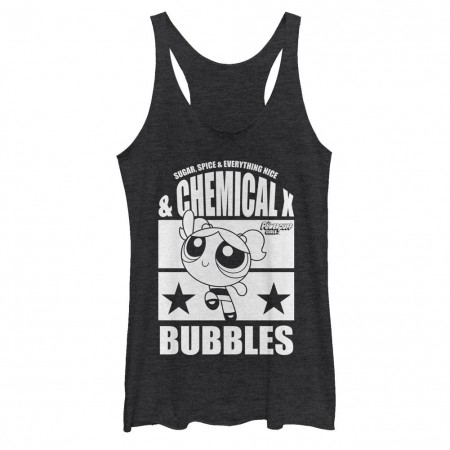 Power Puff Girls Chemical X Bubbles Black Juniors Racerback Tank Top