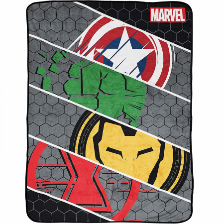 Marvel Avengers Symbols Grid 46 x 60 Throw Blanket