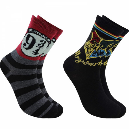 Harry Potter Hogwarts and Platform 3/4 2-Pair Pack of Women's Crew Socks
