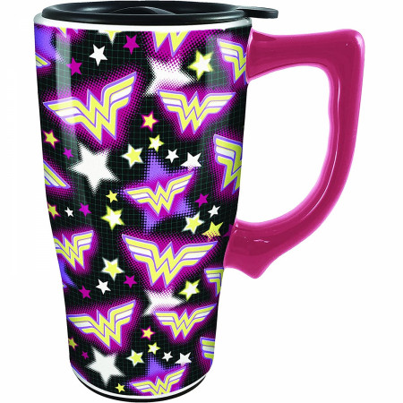 Wonder Woman Symbol and Logo All Over Print Travel Mug