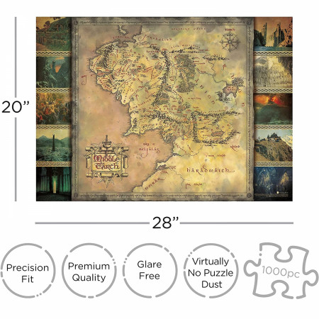 Lord of the Rings Middle Earth Map 1000 Piece Jigsaw Puzzle
