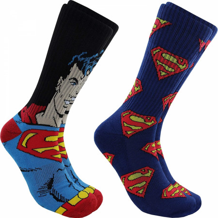 Superman Character and Symbols 2-Pair Pack Athletic of Socks