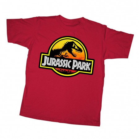 Jurassic Park Outlined Logo Red Youth T-Shirt