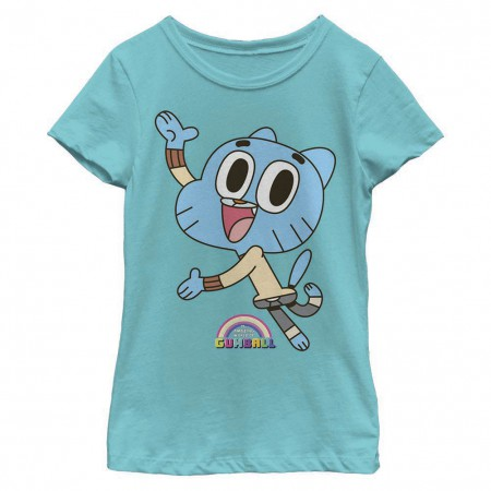 Gumball Cat Logo Blue Youth Girls T-Shirt