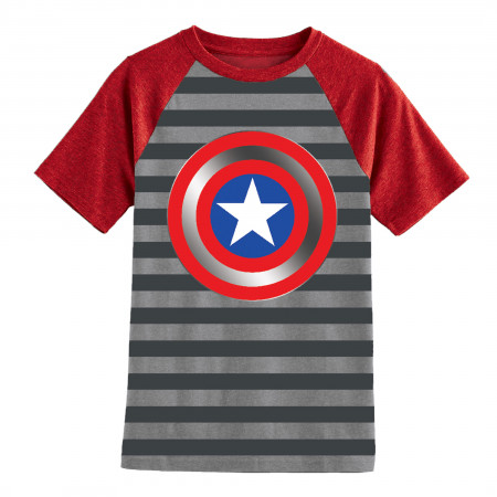 Captain America Boys Youth Striped T-Shirt