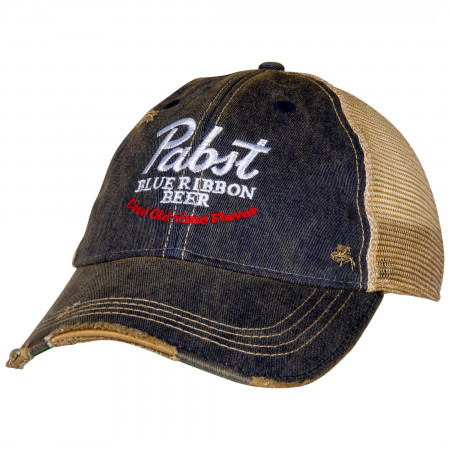 Pabst Blue Ribbon Beer Good Old Flavor Vintage Trucker Hat