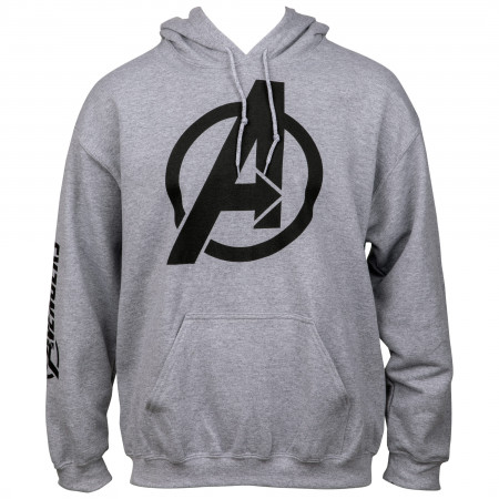 Avengers Symbol with Sleeve Print Text Pull Over Hoodie