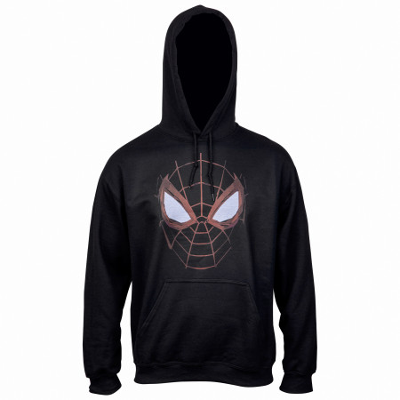 Spider-Man Miles Morales Distressed Web Face Pull Over Hoodie