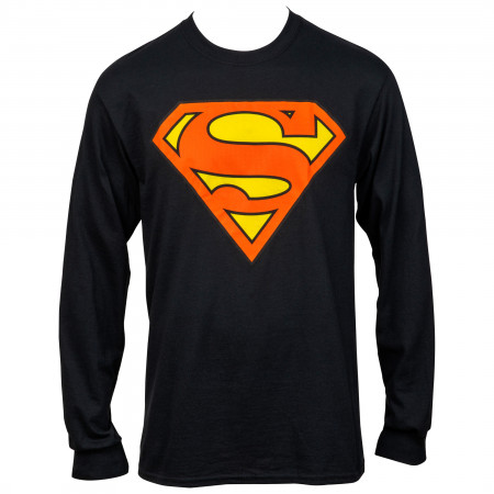 Superman Symbol Black Long Sleeve T-Shirt