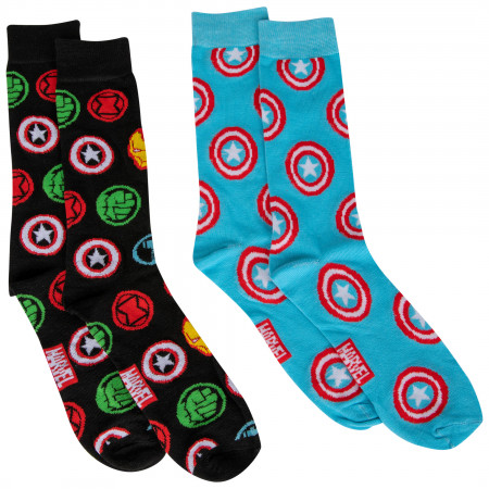 Captain America and Marvel Avengers Symbols 2-Pair Pack of Crew Socks
