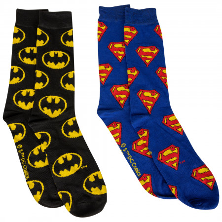 DC Comics Batman and Superman Symbols All Over 2-Pair Pack of Crew Socks