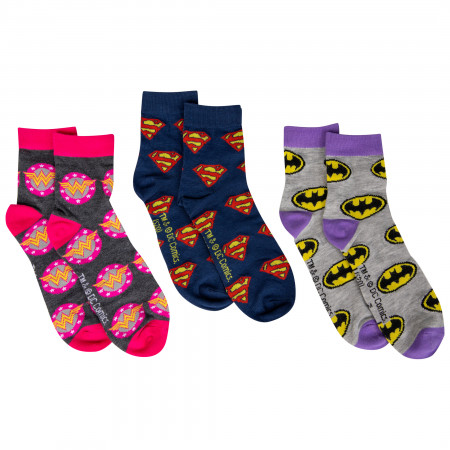 DC Comics All Over Hero Symbols 3-Pair Pack of Women's Quarter Socks