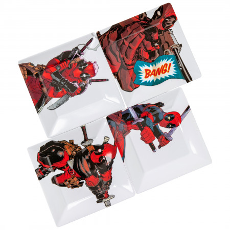 Deadpool Action Pose 4-Pack Plastic Plate Set