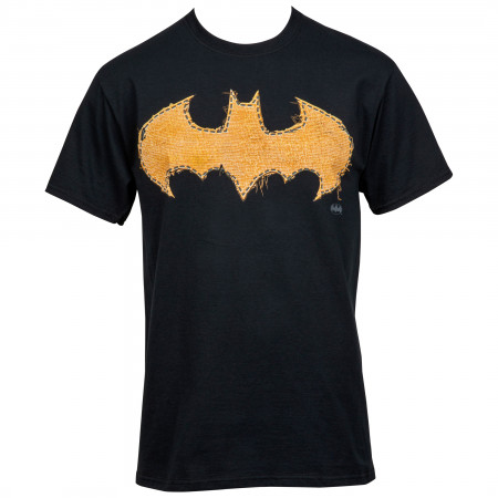 Batman Frayed Yellow Stitch Logo T-Shirt