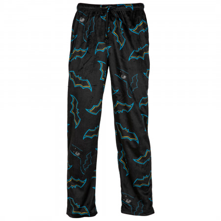 Batman All Over Blue Highlighted Symbols Sueded Fleece Sleep Pants