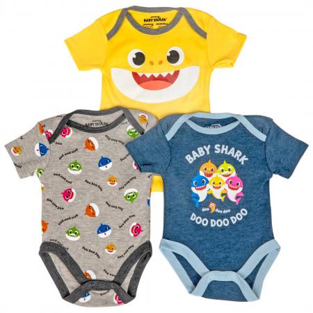 Baby Shark 3-Pack Infant Bodysuit Set