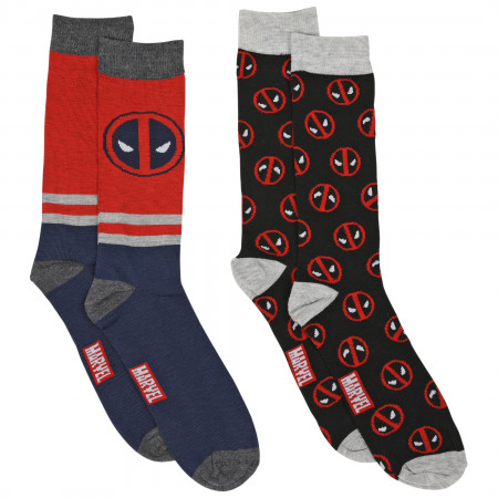 Deadpool Logos & Stripes 2-Pair Pack of Casual Crew Socks