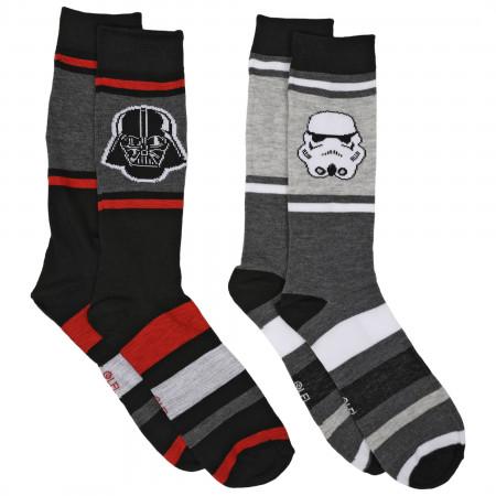 Star Wars Darth Vader and Stormtrooper 2-Pair Pack of Casual Crew Socks