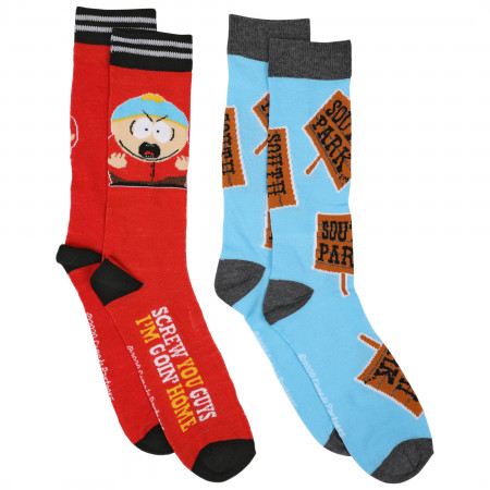 South Park Adult Swim Cartman Character 2-Pair Pack of Casual Crew Socks