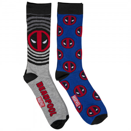 Deadpool Logos 2-Pair Pack of Crew Socks