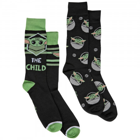 The Mandalorian Grogu The Child 2-Pair Pack of Crew Socks