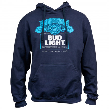 Bud Light Bottle Label Navy Blue Hoodie