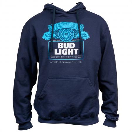 Bud Light Bottle Label Navy Blue Hoodie