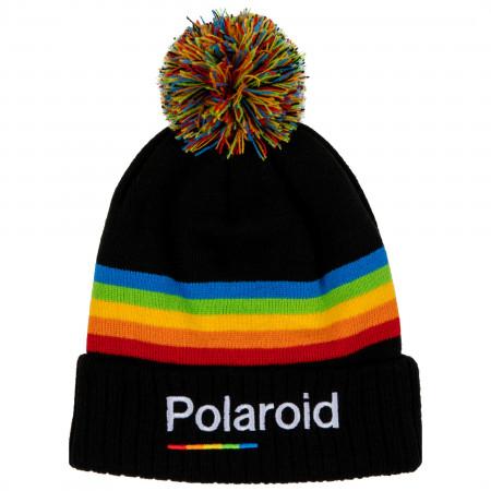 Polaroid Text Brand Cuff Pom Knit Beanie