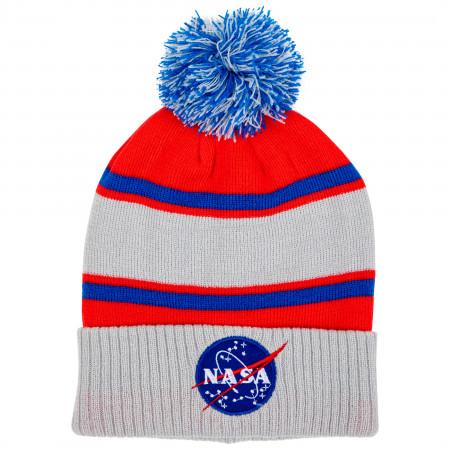 NASA Logo Cuff Pom Knit Beanie