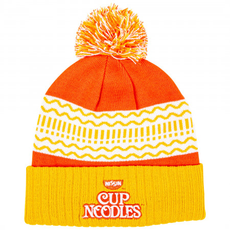 Cup Noodles Text Brand Cuff Pom Knit Beanie