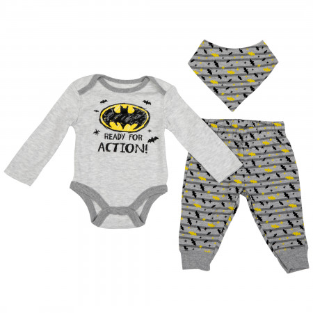 Batman Symbol 3-Piece Bodysuit Set with Bib