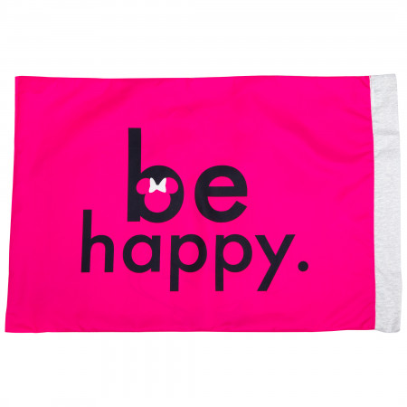 Disney Minnie Mouse Face Be Happy Pillowcase