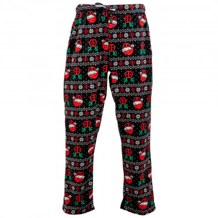 Deadpool Christmas Ugly Sweater Black Unisex Fleece Sleep Pants