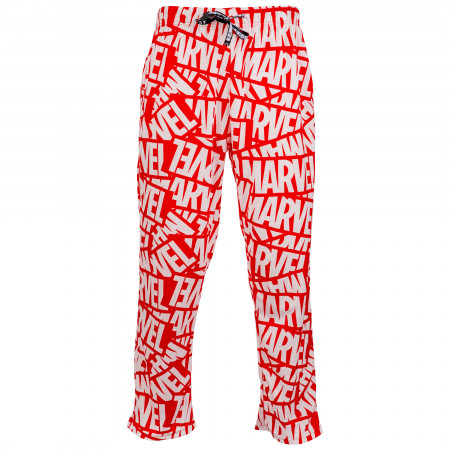 Marvel Logo All Over Red Unisex Fleece Sleep Pants
