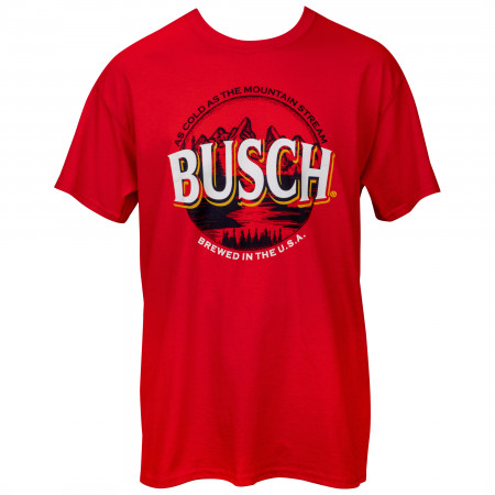 Busch Beer As Cold As the Mountain Stream Logo T-Shirt
