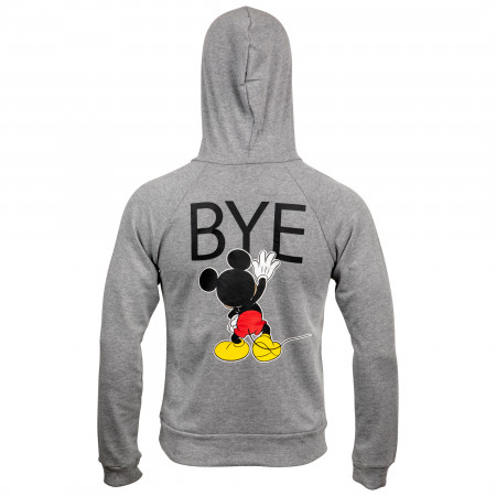 Disney Mickey Mouse Hi Bye Front and Back Print Women's Fitted Hoodie