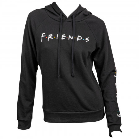 Friends TV Show Title Text with Sleeve Print Women's Fitted Hoodie