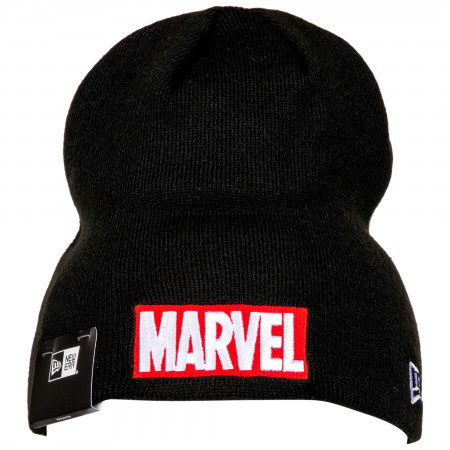 Marvel Brand Red Text Logo Knit New Era Beanie