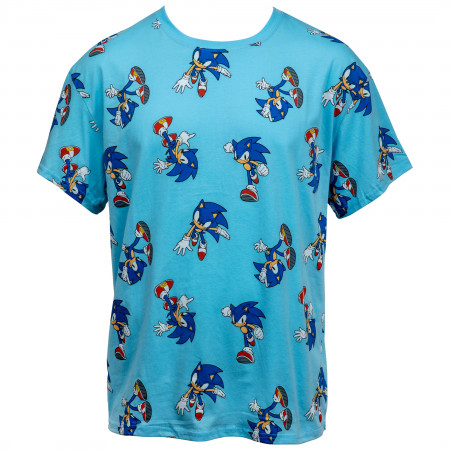 Sonic The Hedgehog All Over Retro Print T-Shirt