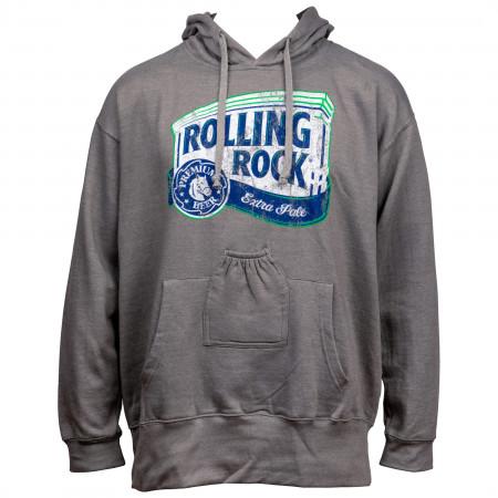 Rolling Rock Beer Logo Grey Beer Pouch Hoodie