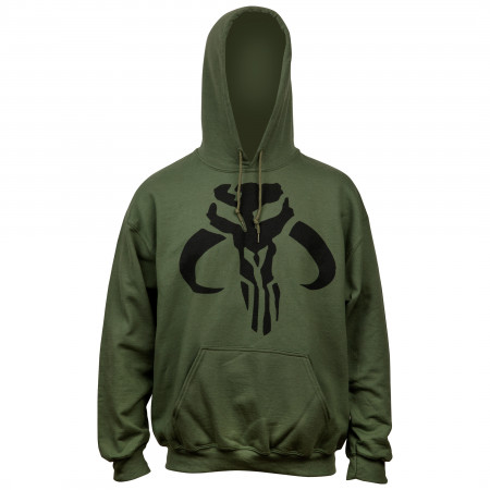 Star Wars The Mandalorian Logo Army Green Pull Over Hoodie
