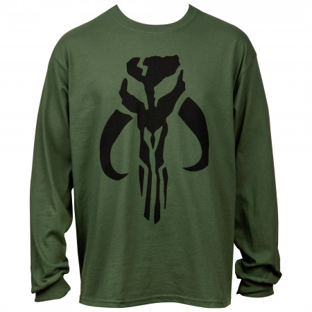 Star Wars The Mandalorian Logo Army Green Long Sleeve Shirt
