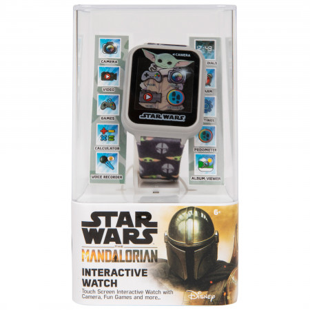 Accutime Star Wars The Mandalorian and The Child Heads Interactive Kids Black Watch