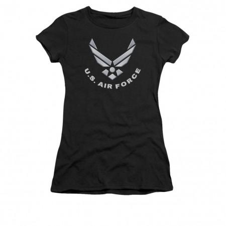 US Air Force Logo Black Juniors T-Shirt